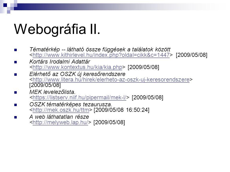 Webográfia II. Tématérkép -- látható össze függések a találatok között [2009/05/08]http://www.kithirlevel.hu/index.php?oldal=cikk&c=1447 Kortárs Iroda