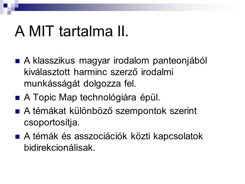 A MIT tartalma II. A klasszikus magyar irodalom panteonjából kiválasztott harminc szerző irodalmi munkásságát dolgozza fel. A Topic Map technológiára