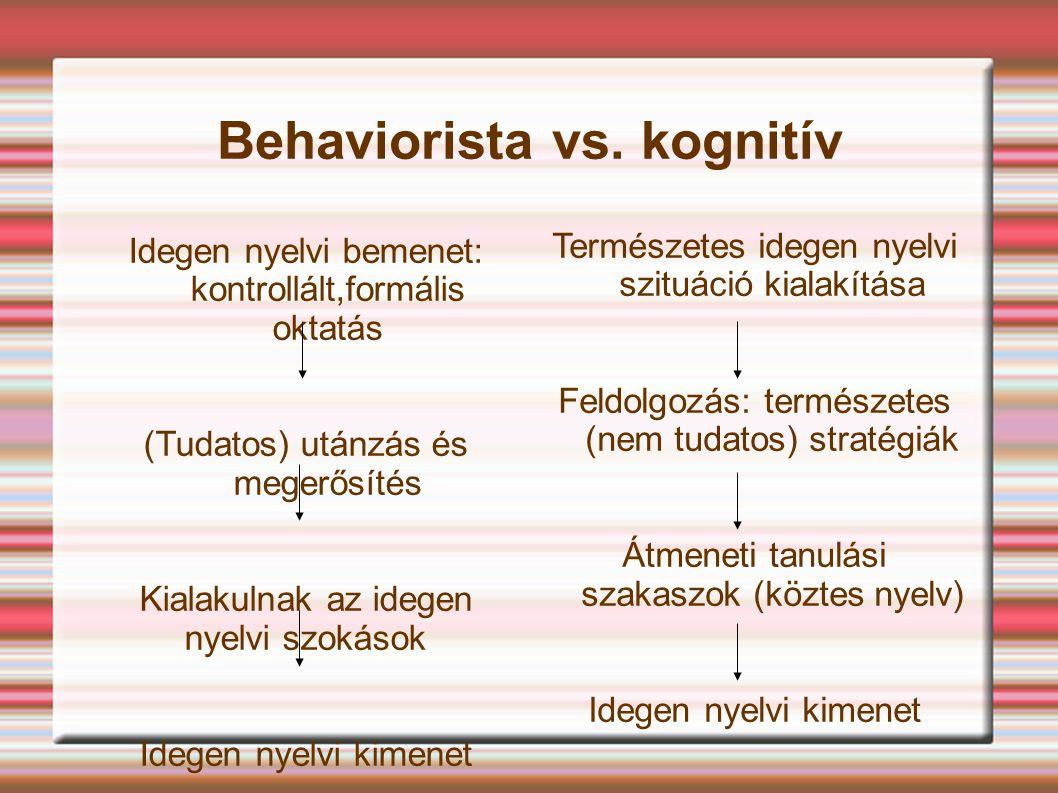 Behaviorista vs. kognitív Idegen nyelvi bemenet: kontrollált,formális oktatás (Tudatos) utánzás és megerősítés Kialakulnak az idegen nyelvi szokások I