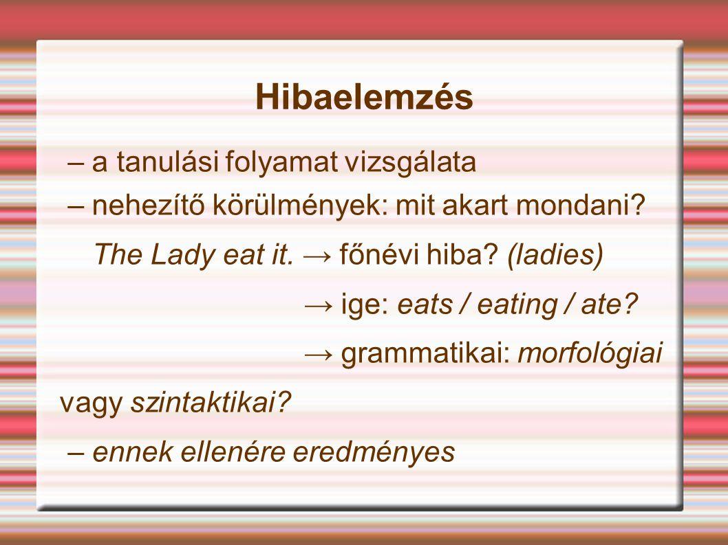 Hibaelemzés – a tanulási folyamat vizsgálata – nehezítő körülmények: mit akart mondani? The Lady eat it. → főnévi hiba? (ladies) → ige: eats / eating