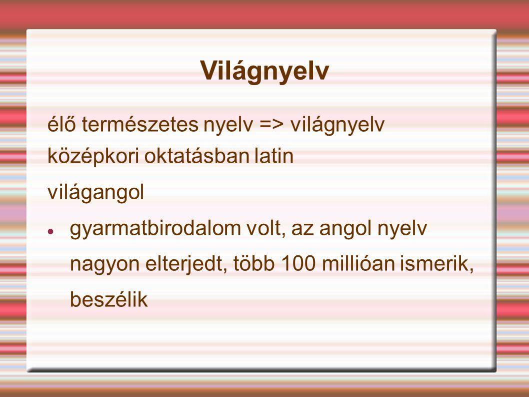 Világnyelv élő természetes nyelv => világnyelv középkori oktatásban latin világangol gyarmatbirodalom volt, az angol nyelv nagyon elterjedt, több 100