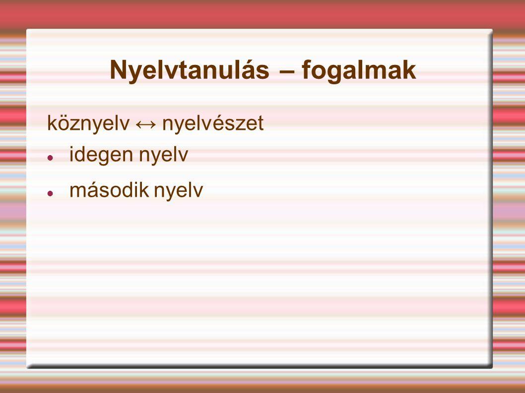 Nyelvtanulás – fogalmak köznyelv ↔ nyelvészet idegen nyelv második nyelv