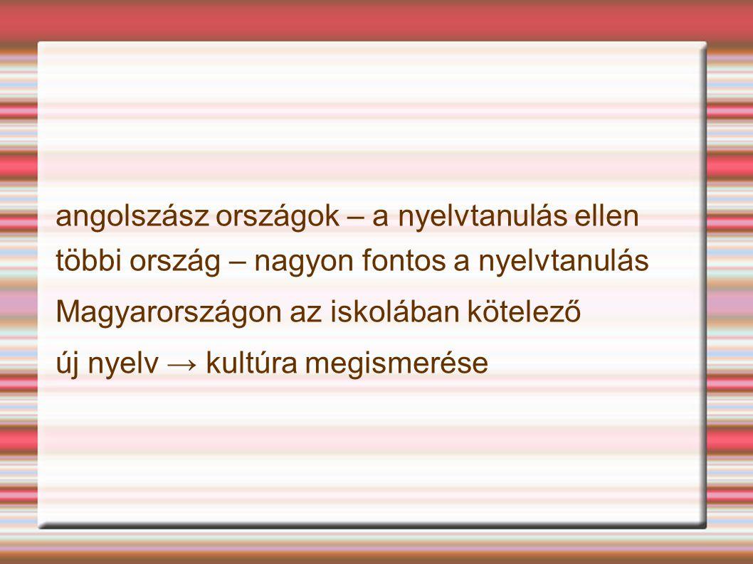 angolszász országok – a nyelvtanulás ellen többi ország – nagyon fontos a nyelvtanulás Magyarországon az iskolában kötelező új nyelv → kultúra megisme