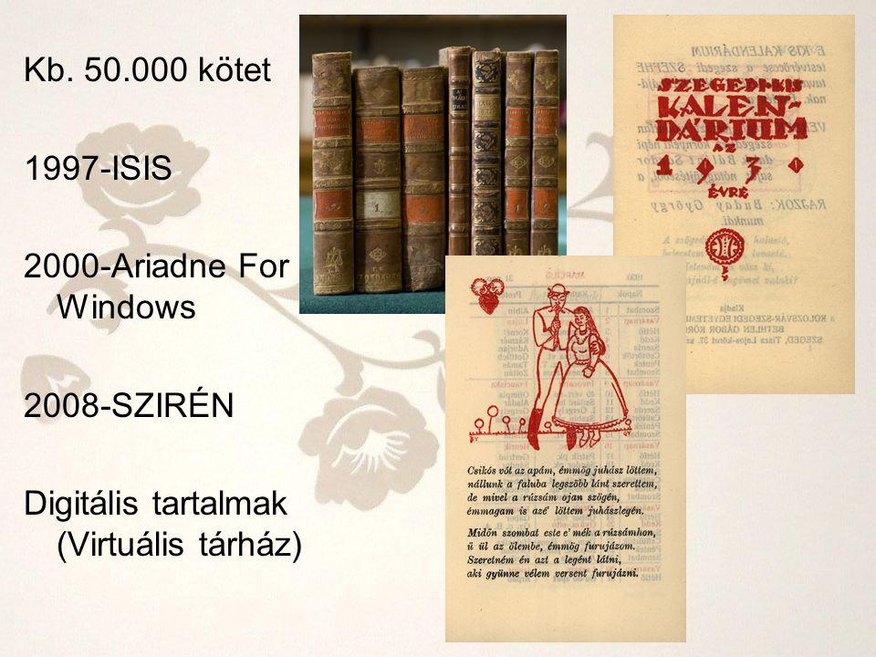 Kb. 50.000 kötet 1997-ISIS 2000-Ariadne For Windows 2008-SZIRÉN Digitális tartalmak (Virtuális tárház)