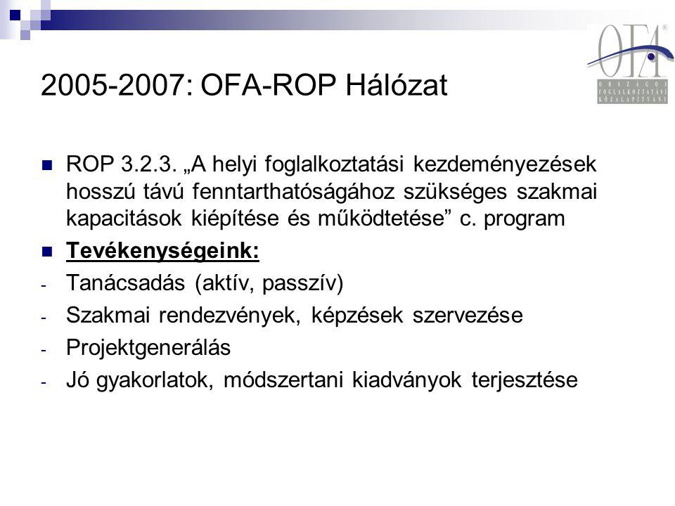 """2005-2007: OFA-ROP Hálózat ROP 3.2.3. """"A helyi foglalkoztatási kezdeményezések hosszú távú fenntarthatóságához szükséges szakmai kapacitások kiépítése"""