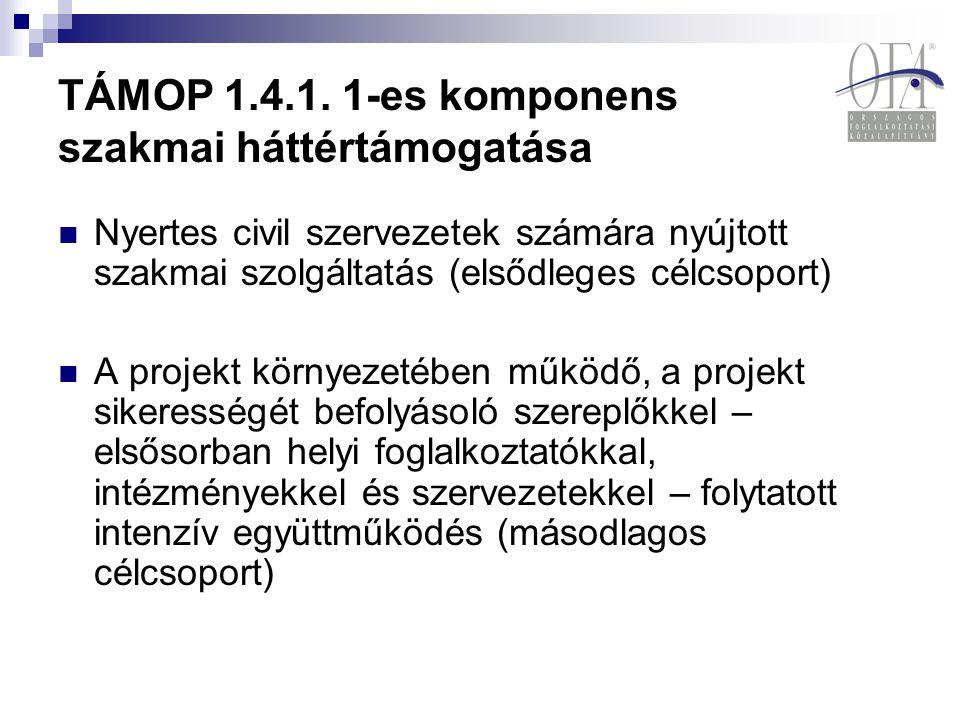 TÁMOP 1.4.1. 1-es komponens szakmai háttértámogatása Nyertes civil szervezetek számára nyújtott szakmai szolgáltatás (elsődleges célcsoport) A projekt