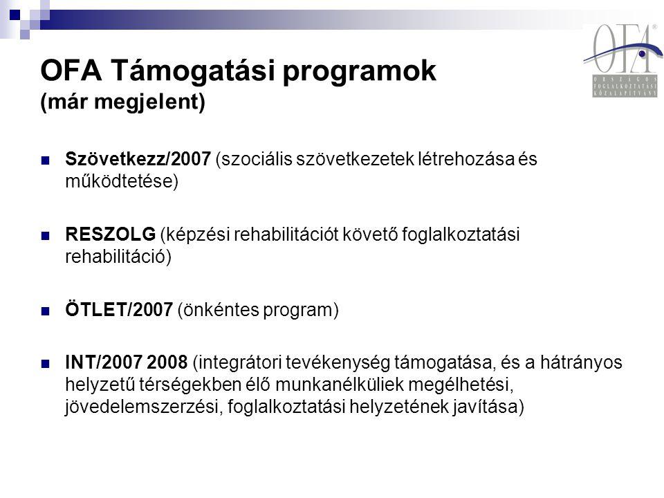 OFA Támogatási programok (már megjelent) Szövetkezz/2007 (szociális szövetkezetek létrehozása és működtetése) RESZOLG (képzési rehabilitációt követő f