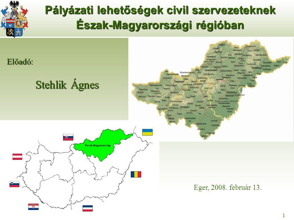 1 Pályázati lehetőségek civil szervezeteknek Észak-Magyarországi régióban Stehlik Ágnes Eger, 2008. február 13. 1 Előadó: