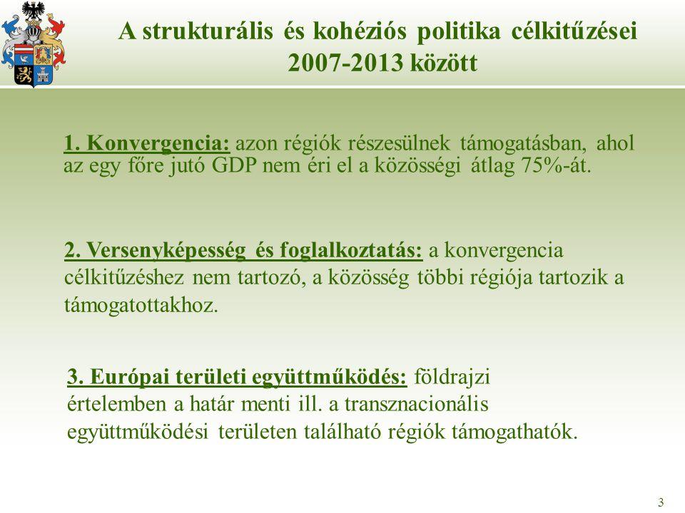 3 1. Konvergencia: azon régiók részesülnek támogatásban, ahol az egy főre jutó GDP nem éri el a közösségi átlag 75%-át. 3 A strukturális és kohéziós p