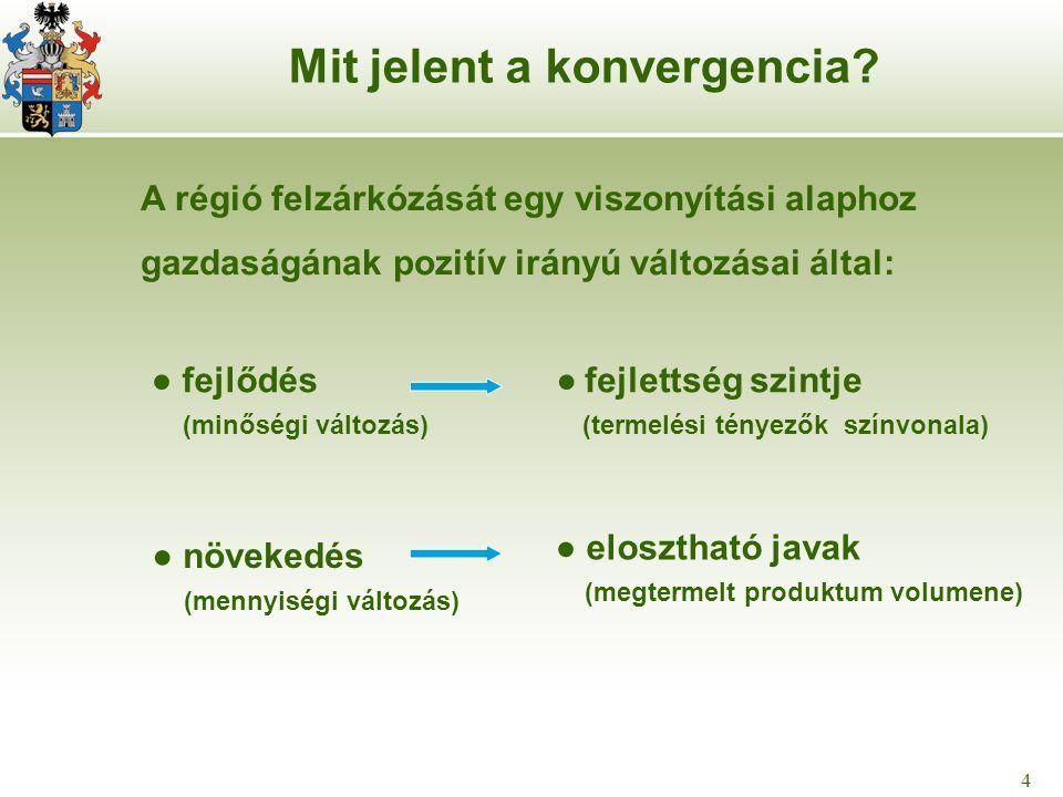 4 4 ● fejlődés (minőségi változás) Mit jelent a konvergencia? ● fejlettség szintje (termelési tényezők színvonala) ● elosztható javak (megtermelt prod