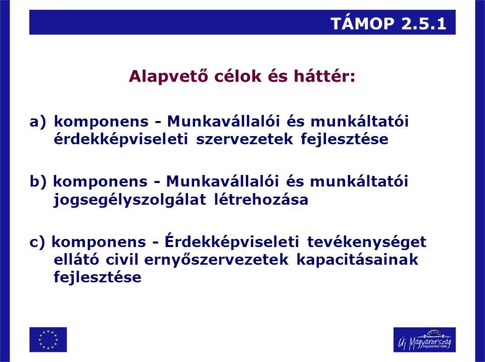 TÁMOP 2.5.1 Alapvető célok és háttér: a)komponens - Munkavállalói és munkáltatói érdekképviseleti szervezetek fejlesztése b) komponens - Munkavállalói