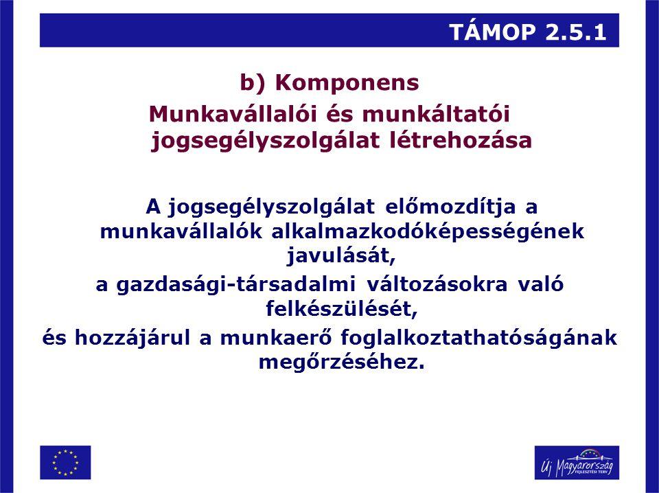 TÁMOP 2.5.1 b) Komponens Munkavállalói és munkáltatói jogsegélyszolgálat létrehozása A jogsegélyszolgálat előmozdítja a munkavállalók alkalmazkodóképe