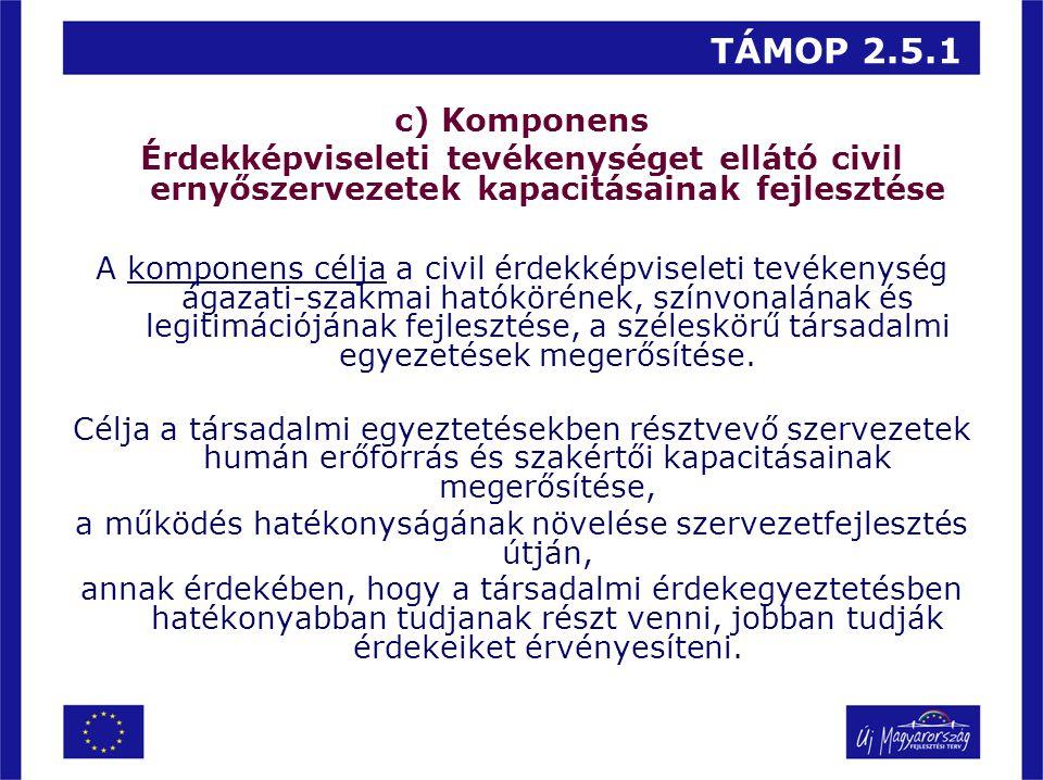 TÁMOP 2.5.1 c) Komponens Érdekképviseleti tevékenységet ellátó civil ernyőszervezetek kapacitásainak fejlesztése A komponens célja a civil érdekképvis