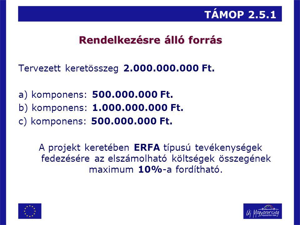 TÁMOP 2.5.1 Rendelkezésre álló forrás Tervezett keretösszeg 2.000.000.000 Ft. a) komponens: 500.000.000 Ft. b) komponens: 1.000.000.000 Ft. c) kompone