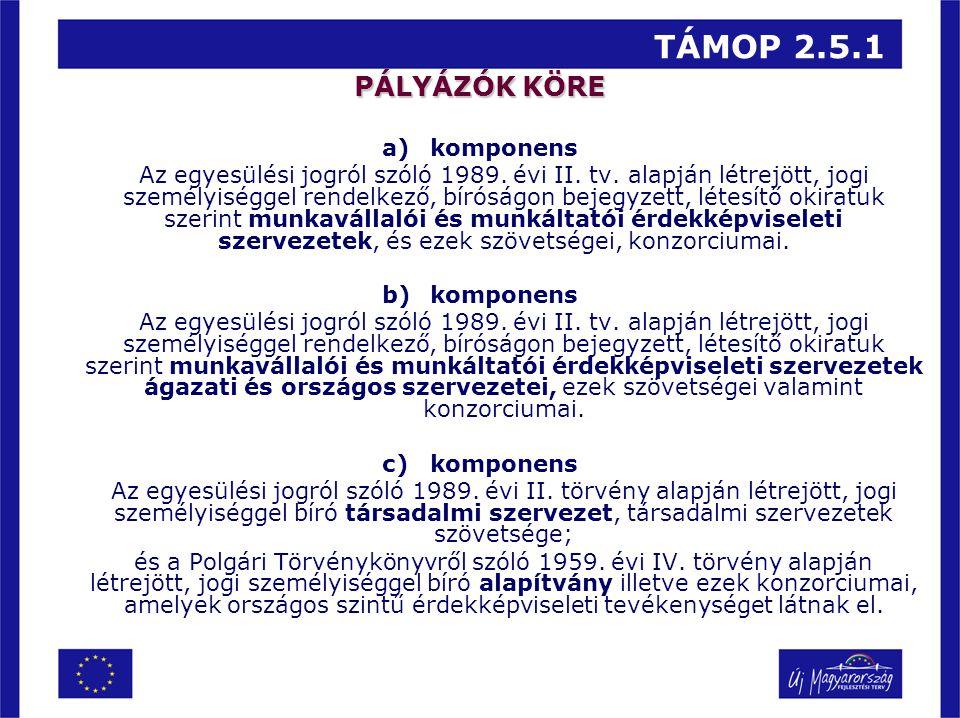 TÁMOP 2.5.1 PÁLYÁZÓK KÖRE a)komponens Az egyesülési jogról szóló 1989. évi II. tv. alapján létrejött, jogi személyiséggel rendelkező, bíróságon bejegy