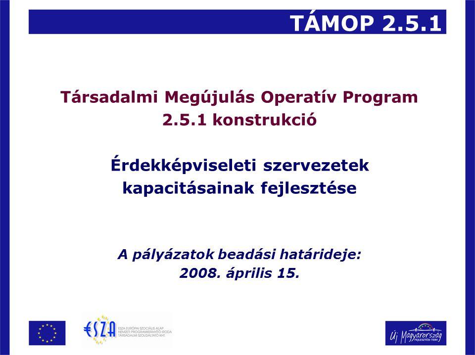 Társadalmi Megújulás Operatív Program 2.5.1 konstrukció Érdekképviseleti szervezetek kapacitásainak fejlesztése A pályázatok beadási határideje: 2008.