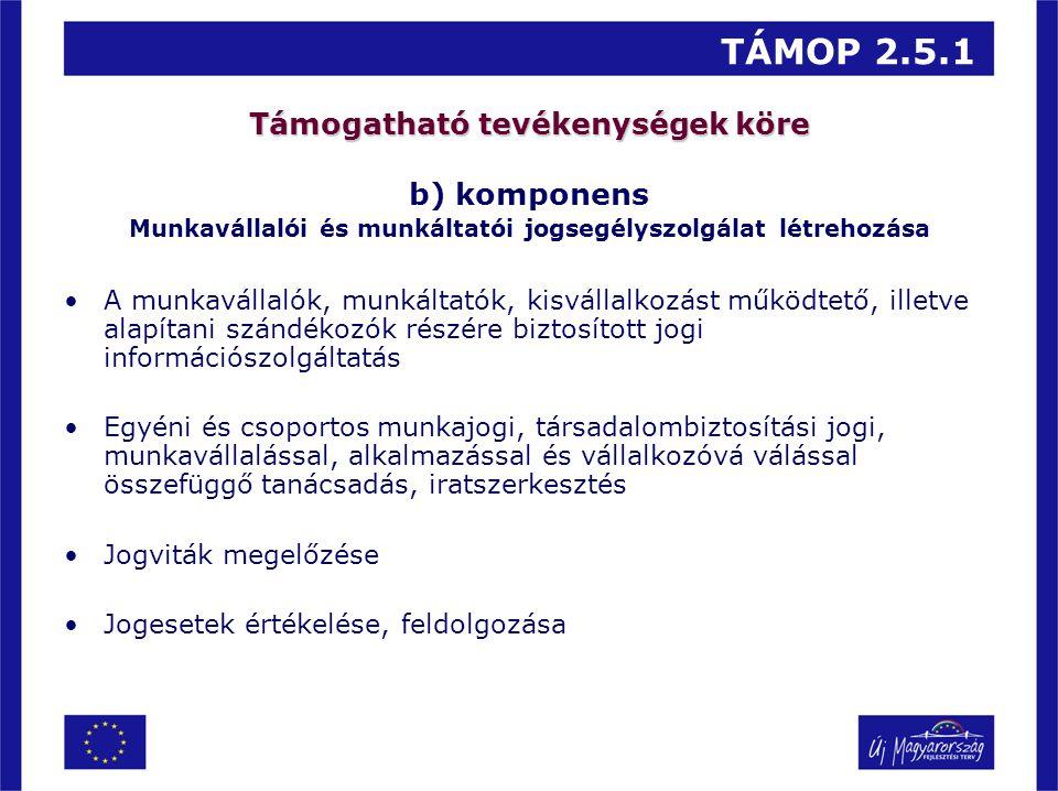 TÁMOP 2.5.1 Támogatható tevékenységek köre b) komponens Munkavállalói és munkáltatói jogsegélyszolgálat létrehozása A munkavállalók, munkáltatók, kisv