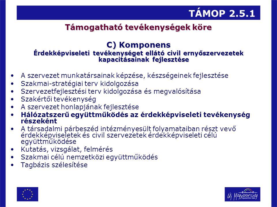 TÁMOP 2.5.1 Támogatható tevékenységek köre C) Komponens Érdekképviseleti tevékenységet ellátó civil ernyőszervezetek kapacitásainak fejlesztése A szer