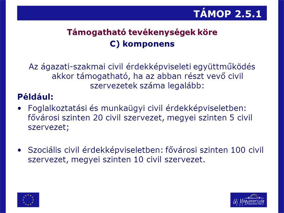 TÁMOP 2.5.1 Támogatható tevékenységek köre C) komponens Az ágazati-szakmai civil érdekképviseleti együttműködés akkor támogatható, ha az abban részt v
