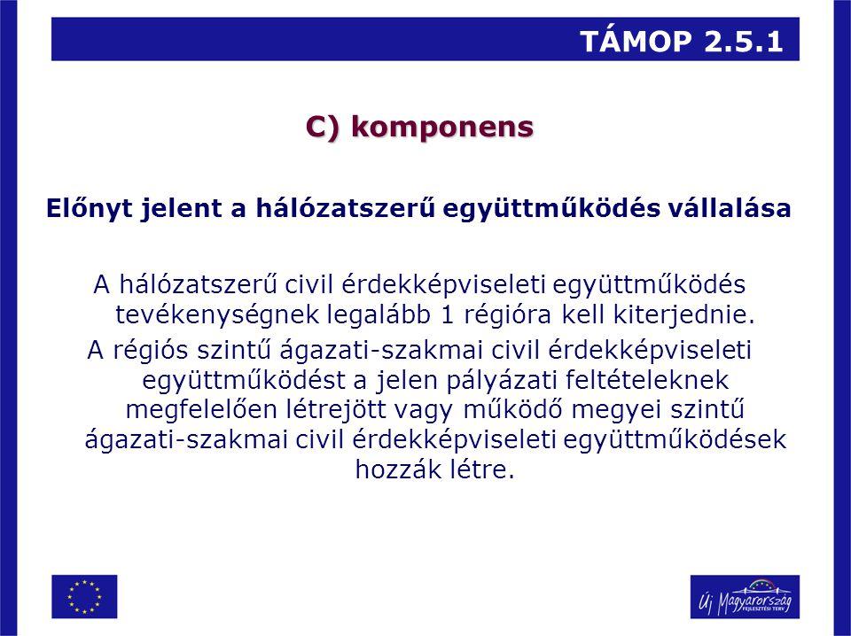 TÁMOP 2.5.1 C) komponens Előnyt jelent a hálózatszerű együttműködés vállalása A hálózatszerű civil érdekképviseleti együttműködés tevékenységnek legal