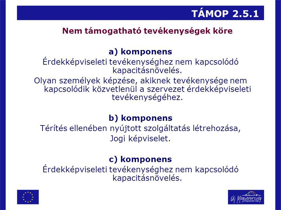 TÁMOP 2.5.1 Nem támogatható tevékenységek köre a) komponens Érdekképviseleti tevékenységhez nem kapcsolódó kapacitásnövelés. Olyan személyek képzése,