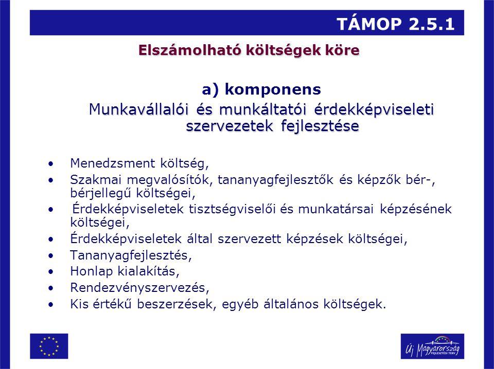 TÁMOP 2.5.1 Elszámolható költségek köre a)komponens unkavállalói és munkáltatói érdekképviseleti szervezetek fejlesztése Munkavállalói és munkáltatói