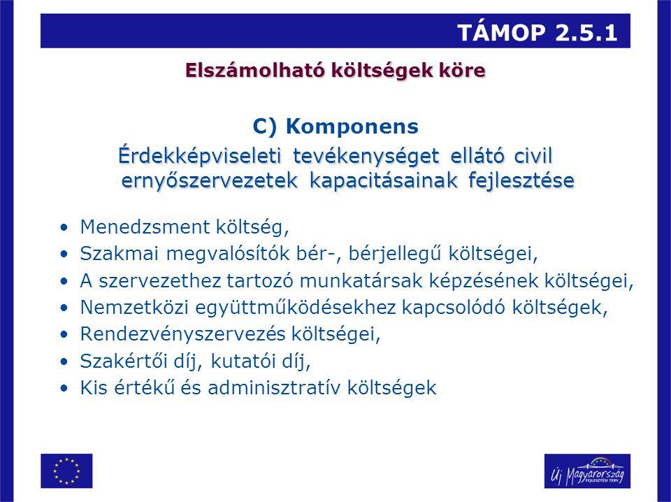 TÁMOP 2.5.1 Elszámolható költségek köre C) Komponens Érdekképviseleti tevékenységet ellátó civil ernyőszervezetek kapacitásainak fejlesztése Menedzsme