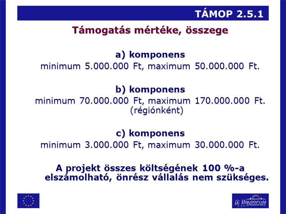 TÁMOP 2.5.1 Támogatás mértéke, összege a) komponens minimum 5.000.000 Ft, maximum 50.000.000 Ft. b) komponens minimum 70.000.000 Ft, maximum 170.000.0