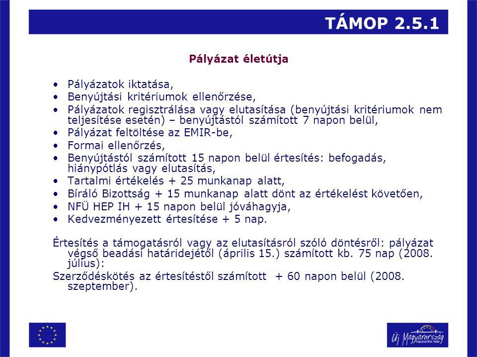 TÁMOP 2.5.1 Pályázat életútja Pályázatok iktatása, Benyújtási kritériumok ellenőrzése, Pályázatok regisztrálása vagy elutasítása (benyújtási kritérium