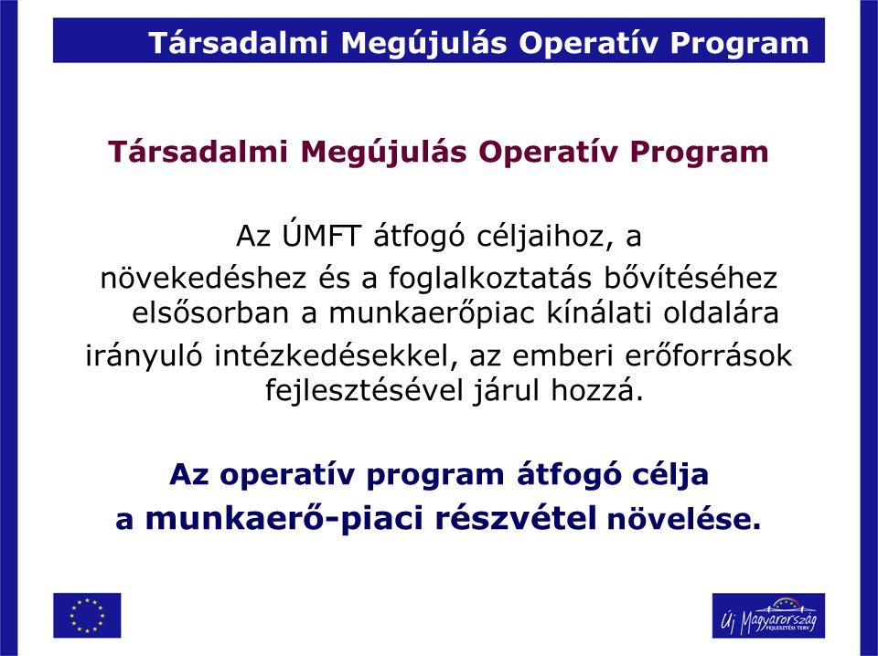 Társadalmi Megújulás Operatív Program Az ÚMFT átfogó céljaihoz, a növekedéshez és a foglalkoztatás bővítéséhez elsősorban a munkaerőpiac kínálati olda