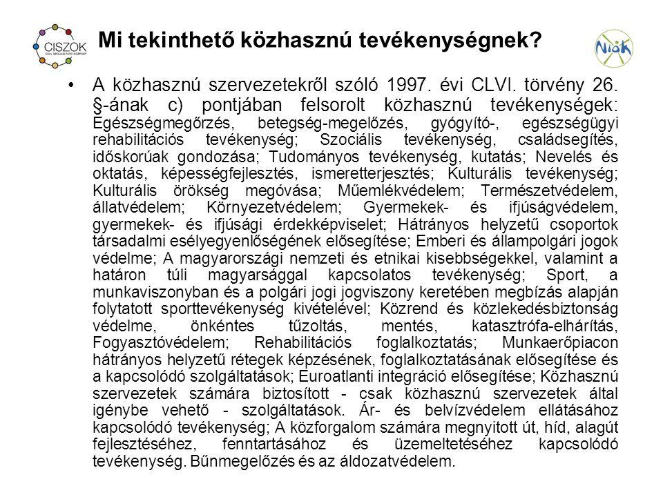 Mi tekinthető közhasznú tevékenységnek. A közhasznú szervezetekről szóló 1997.