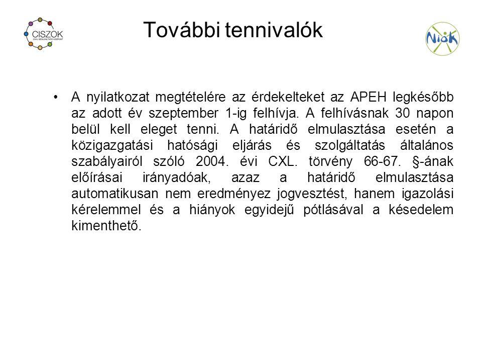 További tennivalók A nyilatkozat megtételére az érdekelteket az APEH legkésőbb az adott év szeptember 1-ig felhívja.