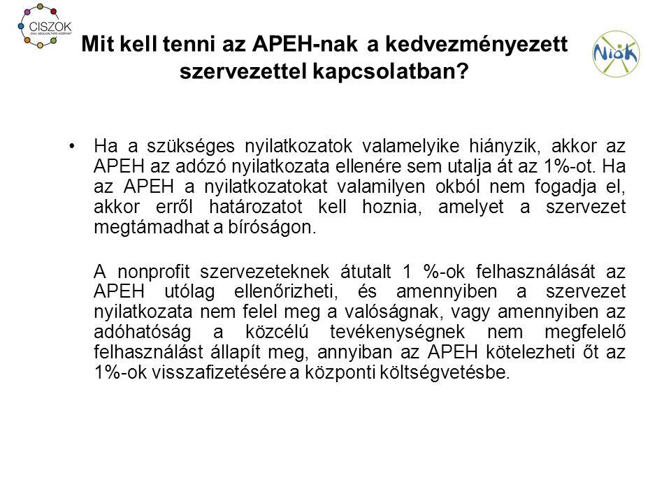 Mit kell tenni az APEH-nak a kedvezményezett szervezettel kapcsolatban.