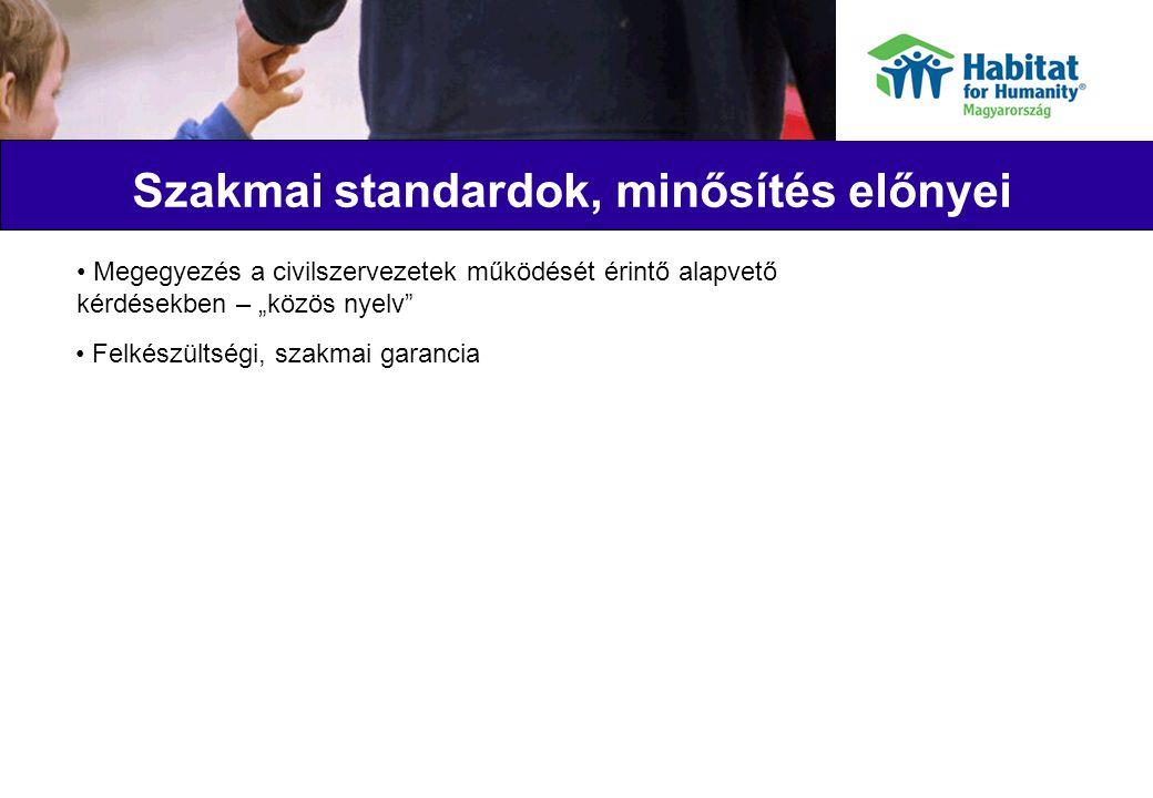 """Szakmai standardok, minősítés előnyei Megegyezés a civilszervezetek működését érintő alapvető kérdésekben – """"közös nyelv Felkészültségi, szakmai garancia"""