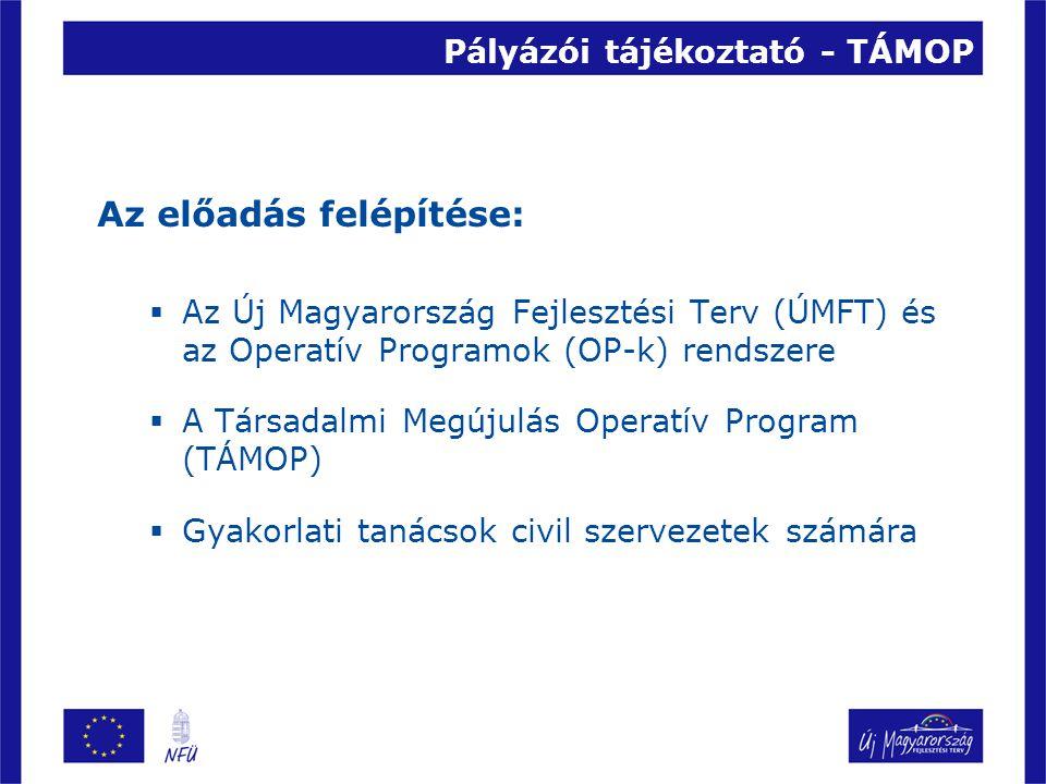 Pályázói tájékoztató - TÁMOP Az előadás felépítése:  Az Új Magyarország Fejlesztési Terv (ÚMFT) és az Operatív Programok (OP-k) rendszere  A Társadalmi Megújulás Operatív Program (TÁMOP)  Gyakorlati tanácsok civil szervezetek számára