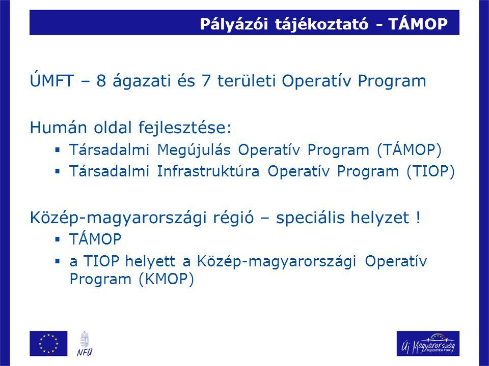 Pályázói tájékoztató - TÁMOP ÚMFT – 8 ágazati és 7 területi Operatív Program Humán oldal fejlesztése:  Társadalmi Megújulás Operatív Program (TÁMOP)  Társadalmi Infrastruktúra Operatív Program (TIOP) Közép-magyarországi régió – speciális helyzet .