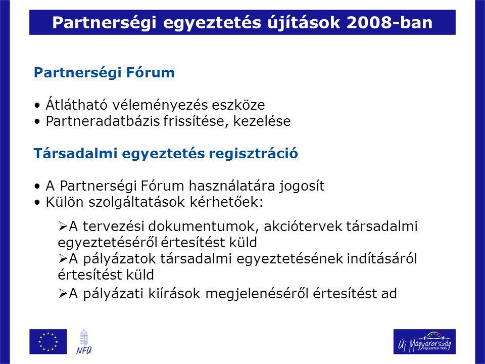 Partnerségi Fórum Átlátható véleményezés eszköze Partneradatbázis frissítése, kezelése Társadalmi egyeztetés regisztráció A Partnerségi Fórum használatára jogosít Külön szolgáltatások kérhetőek:  A tervezési dokumentumok, akciótervek társadalmi egyeztetéséről értesítést küld  A pályázatok társadalmi egyeztetésének indításáról értesítést küld  A pályázati kiírások megjelenéséről értesítést ad Partnerségi egyeztetés újítások 2008-ban