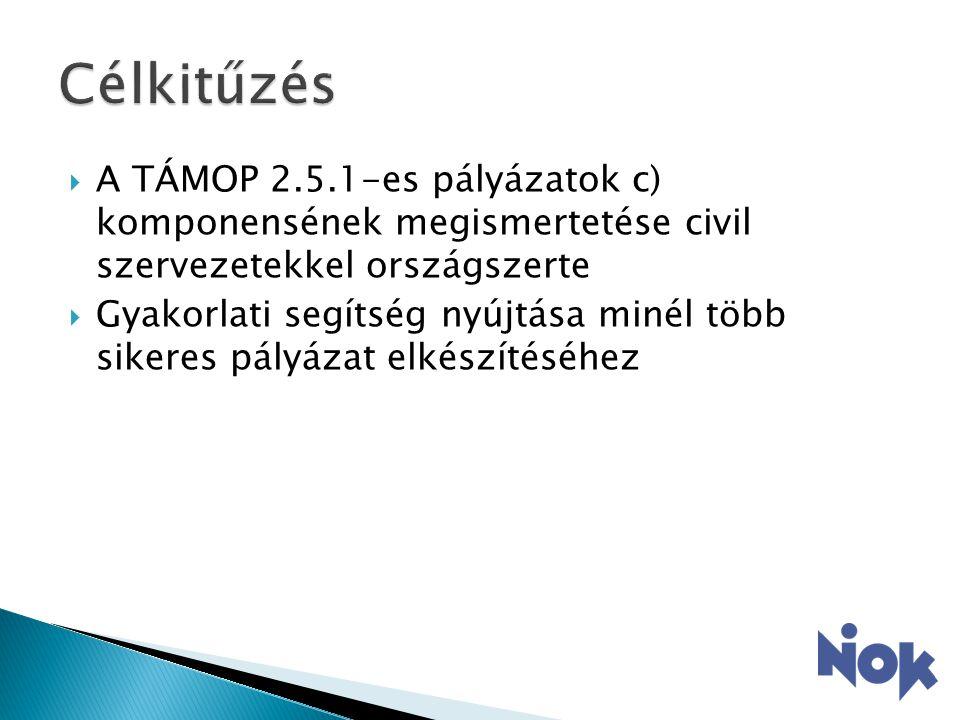  A TÁMOP 2.5.1-es pályázatok c) komponensének megismertetése civil szervezetekkel országszerte  Gyakorlati segítség nyújtása minél több sikeres pályázat elkészítéséhez