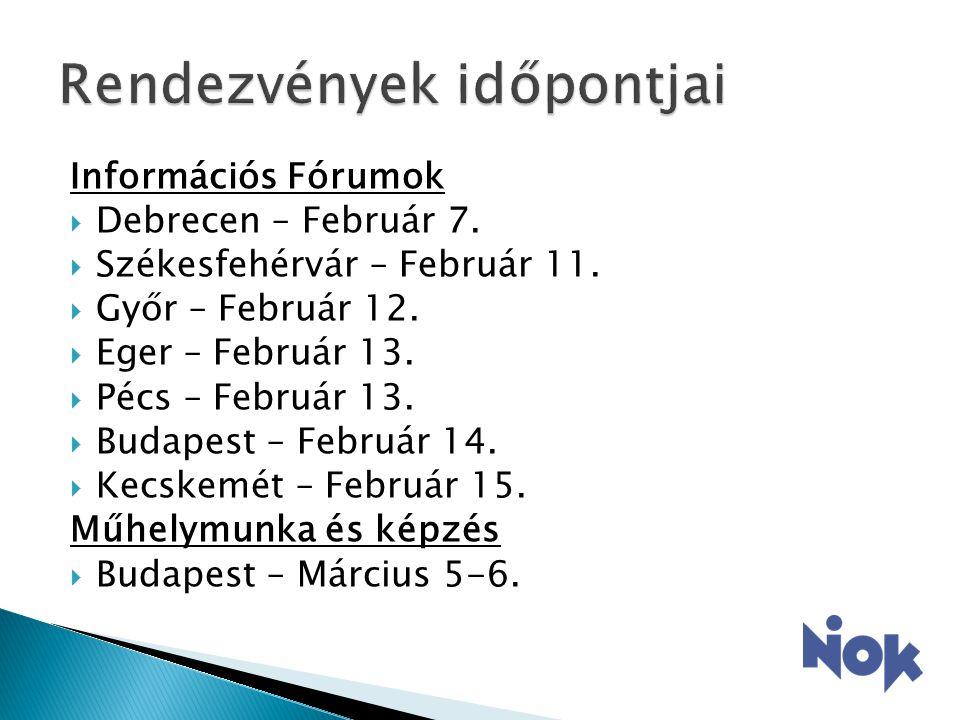 Információs Fórumok  Debrecen – Február 7.  Székesfehérvár – Február 11.