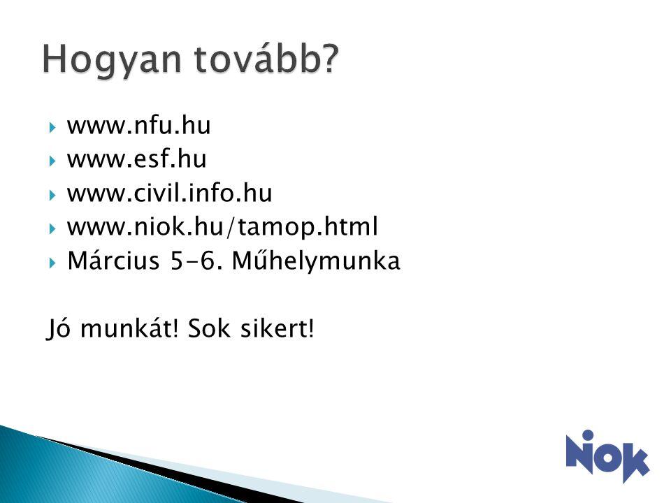  www.nfu.hu  www.esf.hu  www.civil.info.hu  www.niok.hu/tamop.html  Március 5-6.