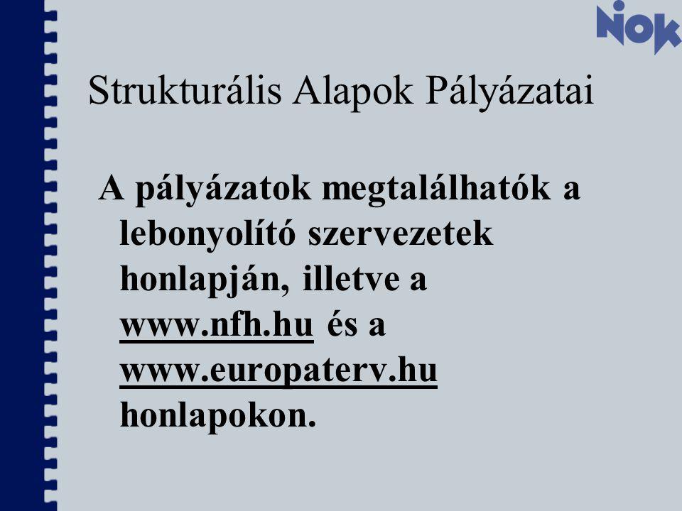 Strukturális Alapok Pályázatai A pályázatok megtalálhatók a lebonyolító szervezetek honlapján, illetve a www.nfh.hu és a www.europaterv.hu honlapokon.