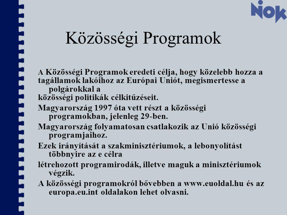 Közösségi Programok A Közösségi Programok eredeti célja, hogy közelebb hozza a tagállamok lakóihoz az Európai Uniót, megismertesse a polgárokkal a közösségi politikák célkitűzéseit.