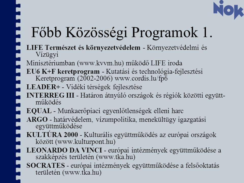 Főbb Közösségi Programok 1.