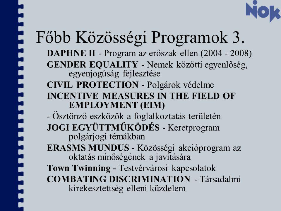 Főbb Közösségi Programok 3.
