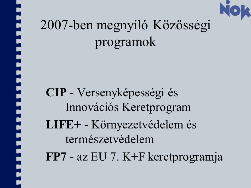 2007-ben megnyíló Közösségi programok CIP - Versenyképességi és Innovációs Keretprogram LIFE+ - Környezetvédelem és természetvédelem FP7 - az EU 7.