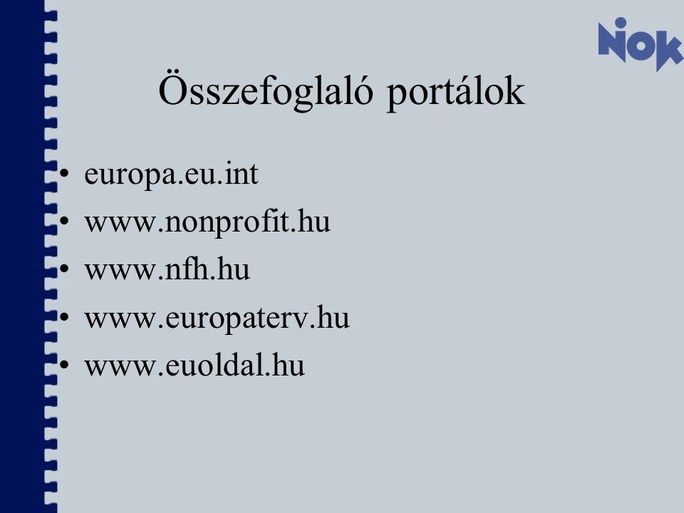 Összefoglaló portálok europa.eu.int www.nonprofit.hu www.nfh.hu www.europaterv.hu www.euoldal.hu