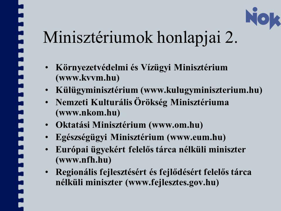 Minisztériumok honlapjai 2.