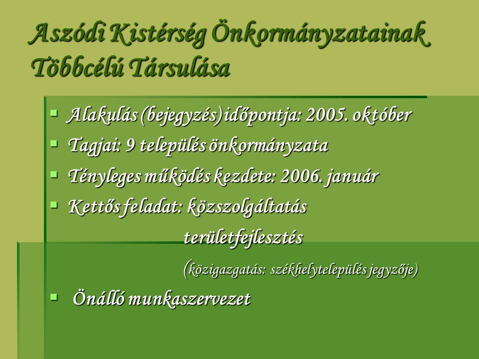 Aszódi Kistérség Önkormányzatainak Többcélú Társulása  Alakulás (bejegyzés) időpontja: 2005. október  Tagjai: 9 település önkormányzata  Tényleges