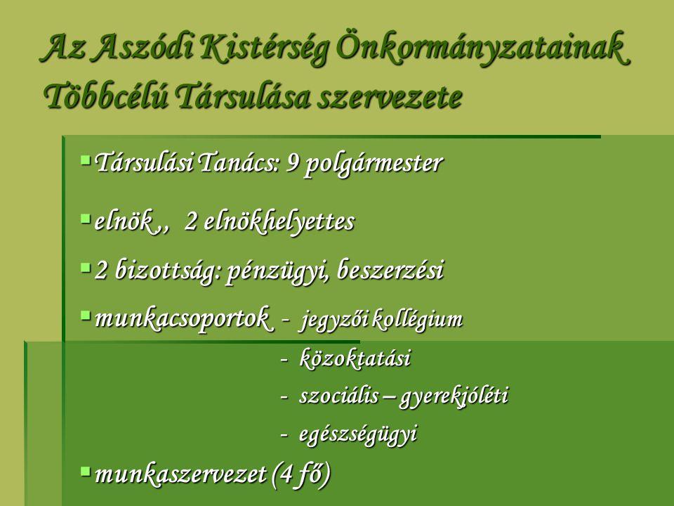 Az Aszódi Kistérség Önkormányzatainak Többcélú Társulása szervezete  Társulási Tanács: 9 polgármester  elnök,, 2 elnökhelyettes  2 bizottság: pénzü
