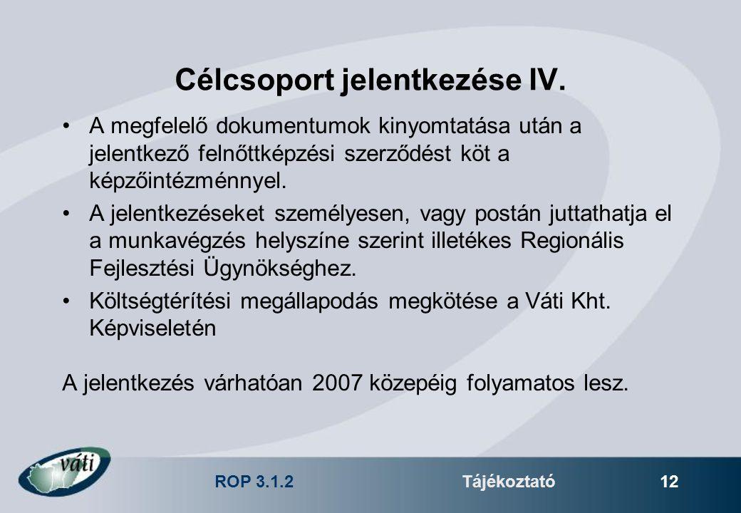 ROP 3.1.2Tájékoztató 12 Célcsoport jelentkezése IV. A megfelelő dokumentumok kinyomtatása után a jelentkező felnőttképzési szerződést köt a képzőintéz